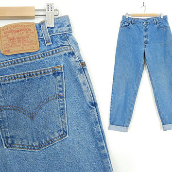 Vintage 90s High Waisted Levis 550 Jeans - Size 14 LONG - Loose Stone Washed Medium Rinse Tapered Leg Plus Size Women's Mom Jeans - 34 Waist