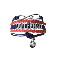 Volleyball Infinity Bracelet-Red/Navy