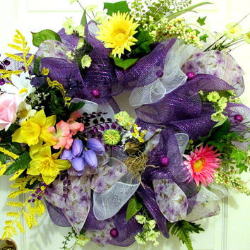 Deco Mesh Wreath -Spring & Summer wreath, door decor, wall decor, purples, yellow, pinks, bird wreath