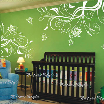 Beautiful Flower with ButterfliesVinyl Wall Decal by NatureStyle