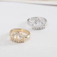 Fashion Rhinestone Hollowed Crown Cocktail Ring at Online Cheap Fashion Jewelry Store Gofavor