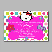 ADF 323 Polkadot Hello Kitty copy Kids Birthday Invitation Party Design