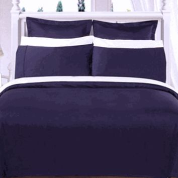 Navy Solid Down Alternative 4-pc Comforter Set 100% Egyptian cotton 550 Thread count