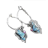 Basket Hill , Silver Tone Hoop and Abalone Butterfly Dangle Earrings
