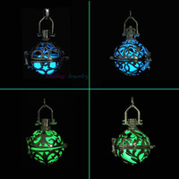 5pcs Filigree Steampunk Lockets Hollow Open Cage Diffuser Lockets Luminous Glow In Dark Lockets Necklace Pendants For DIY