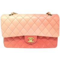 Chanel Classic Double Flap Pink Quilting Calfskin Leather Gold Metal Flap Bag