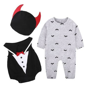 2018 Halloween Baby Sets Winter Baby Boy Girls Cotton Pumpkin Romper Gentleman Romper Hat 3Pcs Suit Newborn Infant Clothing Set