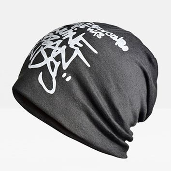 Streetstyle  Casual Cotton Polyester Beanie Hat Baggy Slouchy Outdoor Elastic Cap For Man