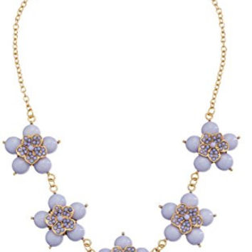 "Lilac Small Flower Cabochon Gold-Tone Statement Necklace, 18.5"" + 3"" Extender"