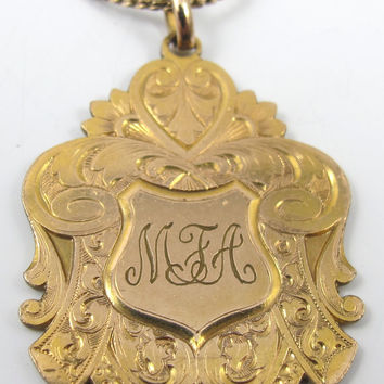 Victorian Fob Pendant 9ct Monogrammed Etched 7.0 Grams 12KGF Chain Double Sided