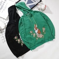 """""""Gucci"""" Women Casual Embroidery Flower Rabbit Hooded Long Sleeve Sweater Pullover Hoodie Tops"""
