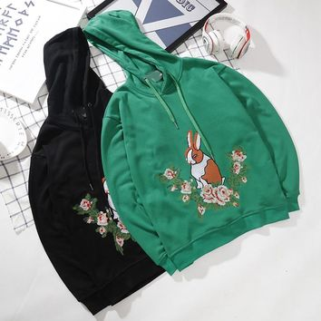 """Gucci"" Women Casual Embroidery Flower Rabbit Hooded Long Sleeve Sweater Pullover Hoodie Tops"