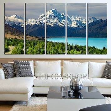 Large Wall Art Wonderful Snowy Mountains and Bright Lake in Forest Landscape Canvas Print Framed 5 Panel Canvas - MC192