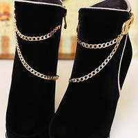 New Women Black Round Toe Chunky Chain Fashion Ankle Boots