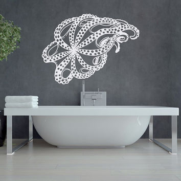 Octopus Wall Decal Sea Animals- Octopus Tentacle Kraken Decal Sea Ocean Decor- Nautical Wall Decal Marine Life Bathroom Bedroom Decor #75