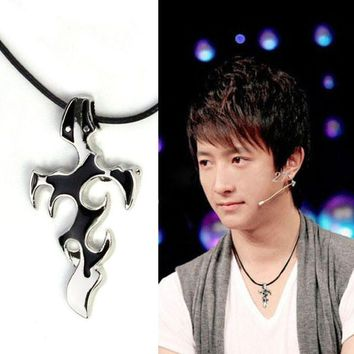 Personality Men Titanium Steel Necklace Sword Cross Pendant Gift Black