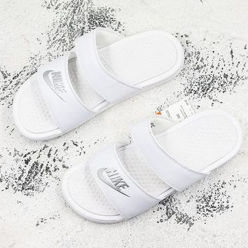 Nike Benassi Duo Ultra White Metallic Silver Slide Sandal Slipper - Best Deal Online