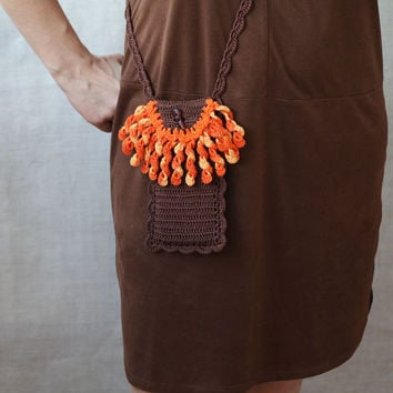 Brown phone purse with orange fringe Smartphone crossbody bag Boho chic Cell phone pouch Back to school Crochet case Gift for her Fall