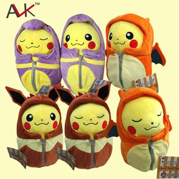 Cartoon plush Pikachu Cosplay Charizard Eevee Robe Sleeping Bag Ekans Plush toys cartoon Fashion Toys Plush dolls 25cm