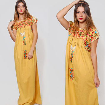 Vintage 80s MEXICAN Dress Yellow FLORAL EMBROIDERED Maxi Ethnic Southwestern Boho Hippie Dress