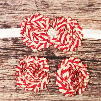 Red and White Candy Cane Baby Barefoot Sandals and Headband - Baby Girl Headband - Baby Barefoot Sandals - Christmas - Baby Girl Bow - Girls
