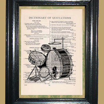 Modern Drum Set - Vintage Dictionary Page Art Beautiful Upcycled Page Art Print Housewares Music Art Print