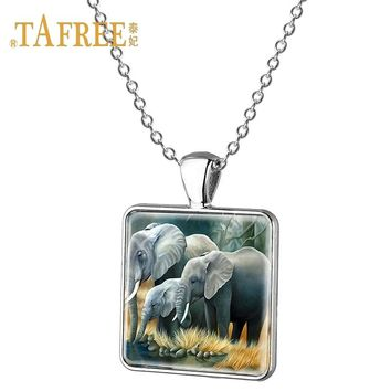 TAFREE Lovely Animal Elephant Pendant Necklace Thai Mascot Elephant Pattern Ornament Pendant For Lady Birthday Gift Jewelry E85