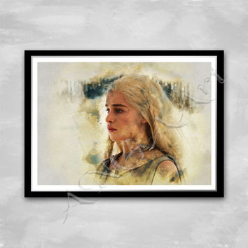 Daenerys Game of thrones Instant Download Digital Print Daenerys Targaryen Wall art Watercolor poster Emilia Clarke poster Daenerys poster