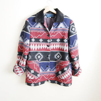 Mountain Chic - Vintage 90s Aztec Southwestern Wool Navajo Coat Jacket