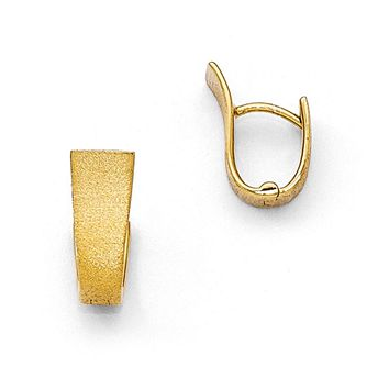 Small Textured Hinged Hoop Earrings in Yellow Gold Tone Plated Silver
