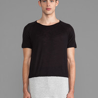 Post Bellum CB Distressed Seam Tee in Black/Grey