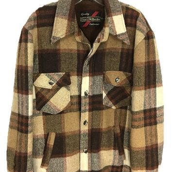 Vintage Sears Outerwear Heavy Plaid Sherpa Lining Button Front Jacket Men's 44 R - Preowned