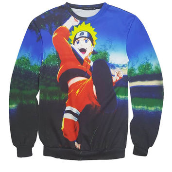 Naruto All Over Print Blue Crew Neck Sweatshirt