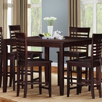 A.M.B. Furniture & Design :: Dining room furniture :: Counter Height dining sets :: 7 pc Ebonny espresso finish wood counter height dining table set with leaf