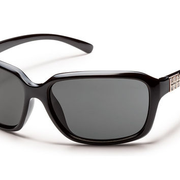 Suncloud - Blossom Black Sunglasses, Gray Polarized Lenses