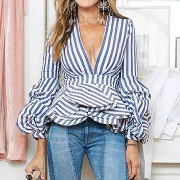 ONETOW 2018 Spring Summer New  Women Sexy V-neck Striped Shirt Female Puff Sleeve Ruffles Slim Blouse High Street Tops