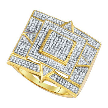 Diamond Micro Pave Mens Ring in 10k Gold 0.74 ctw