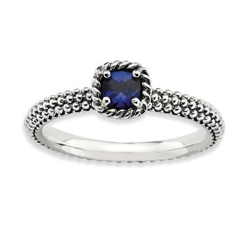 Sterling Silver Stackable Expressions Created Blue Sapphire Cushion Ring