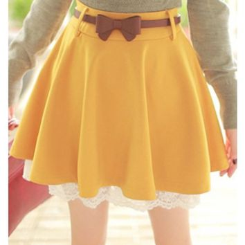 Yellow Lace Hem Knit Material Skirt Women Dress MF7800y from clothingloves