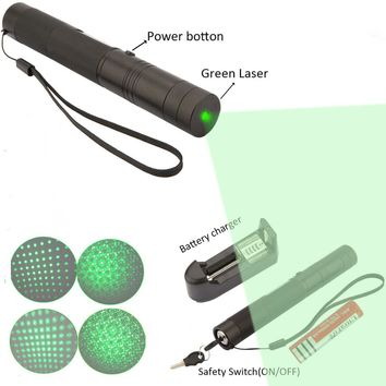 Top Laser 303 10000mw Green Laser Pointer Adjustable Focal Length With Star Pattern Filter With 5000MAH 18650 Battery + Charger