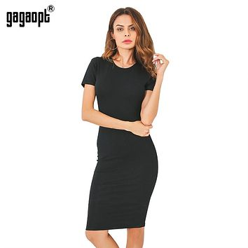 Cotton Knee Length Short Sleeve Dress