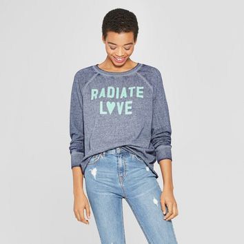 Women's Radiate Love Graphic Sweatshirt - Zoe+Liv (Juniors') Blue