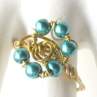 Turquoise Blue Wire Wrapped Ring