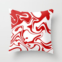 Holiday Red Liquid Marble Effect Pattern Throw Pillow by oursunnycdays
