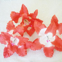 3 Big Lily Red white flower paper 7 inch. /180 mm. Large Flower decorations ,Emblissment ,Craft ,D.I.Y.