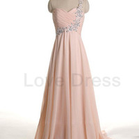 One Shoulder Beadings Floor Length Sweetheart Elegant Prom Dress