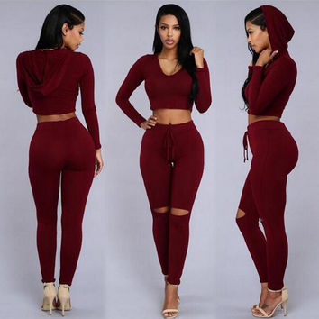 2016 Autumn Women Jumpsuit Bodycon Top and Pants Sexy Bandage Holes Rompers Long sleeve Two Piece Jumpsuits Set Macacao Feminino