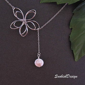 Pearl and Flower Necklace  Coin Pearl Necklace  by SnobishDesign