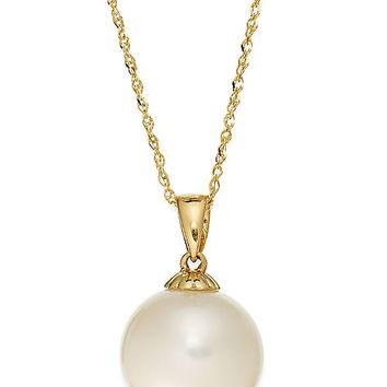 Macy's Pearl Necklace, 14k Gold Cultured Freshwater Pearl Pendant (11mm) Jewelry & Watches - Necklaces - Macy's