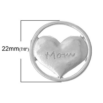 Mom Heart Floating Charms Dish Plate for Glass Locket Pendants and Floating